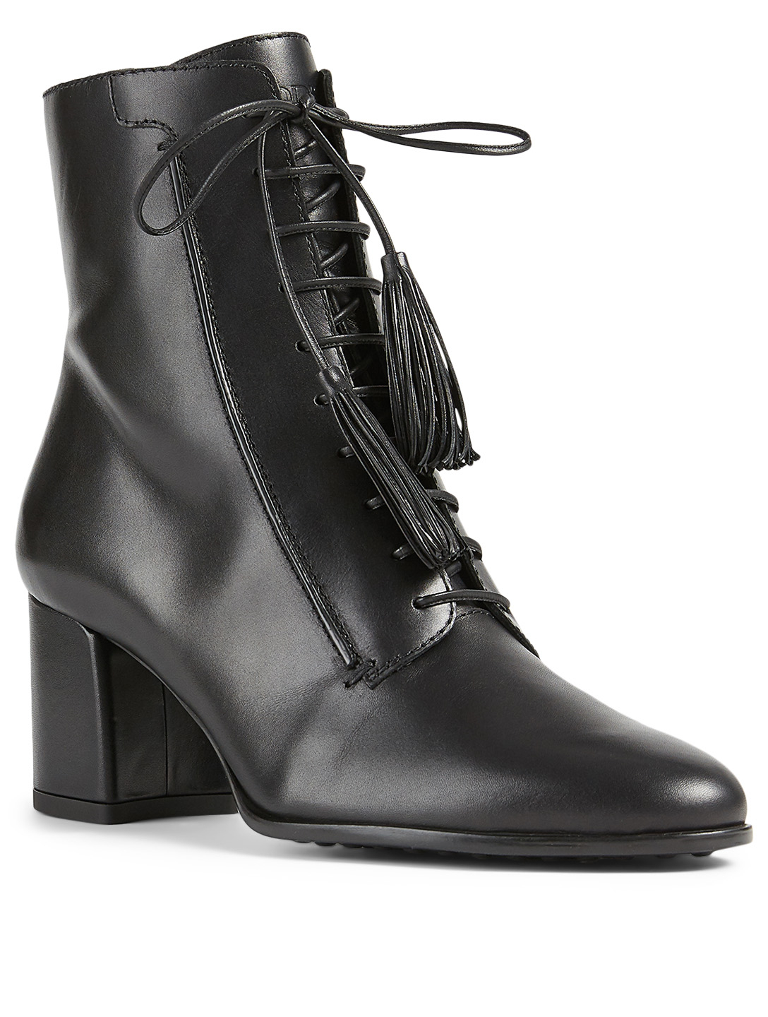 TOD'S Leather Lace-Up Heeled Ankle Boots Women's Black