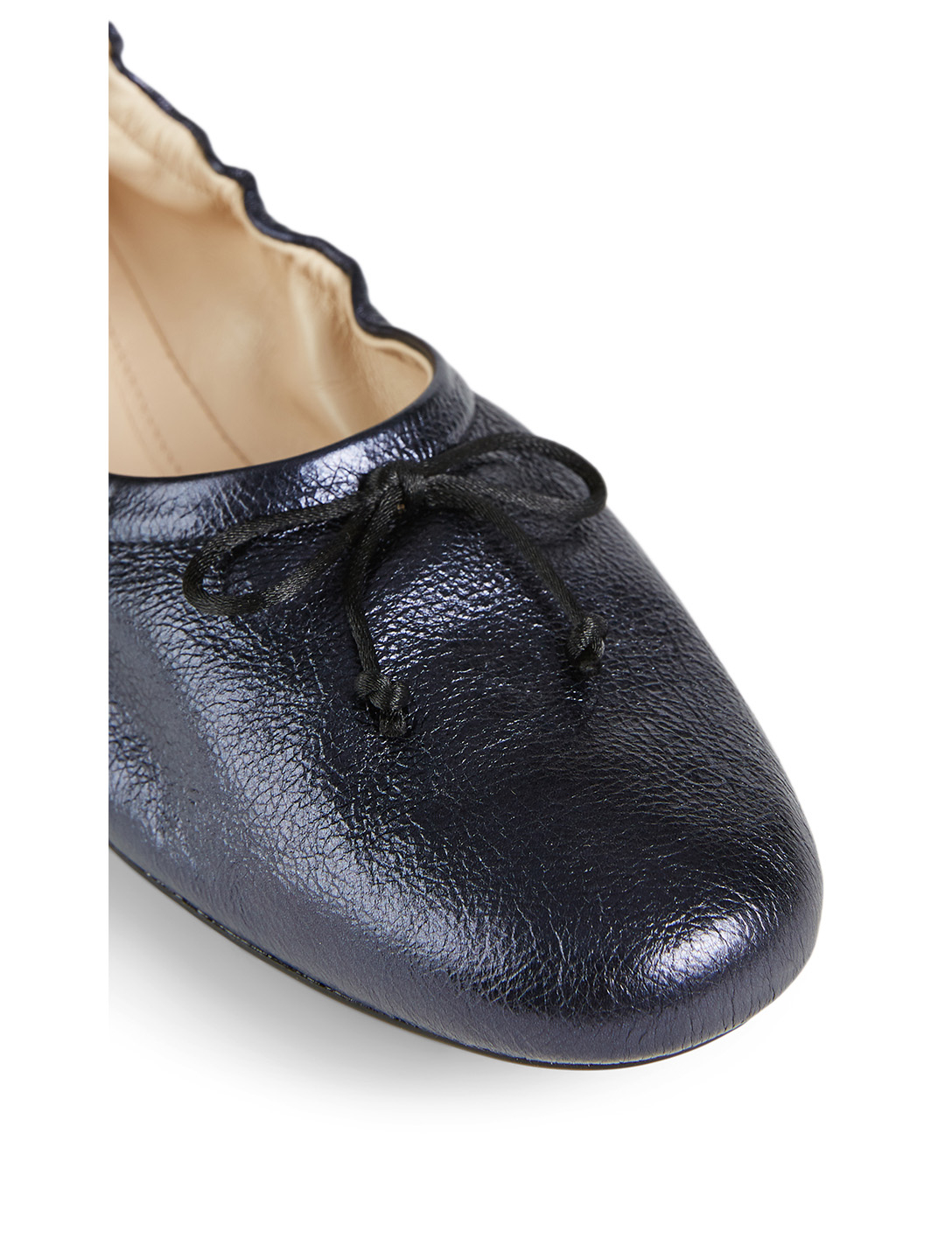 TOD'S Metallic Leather Ballet Flats Women's Blue
