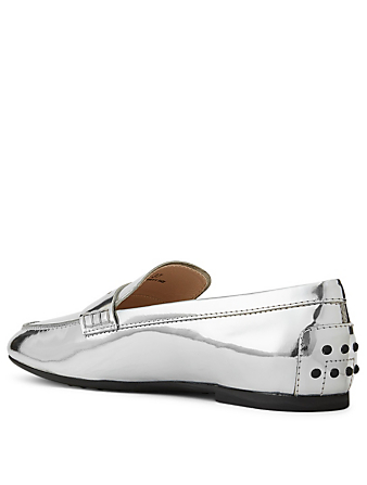 TOD'S Metallic Leather Loafers Women's Metallic