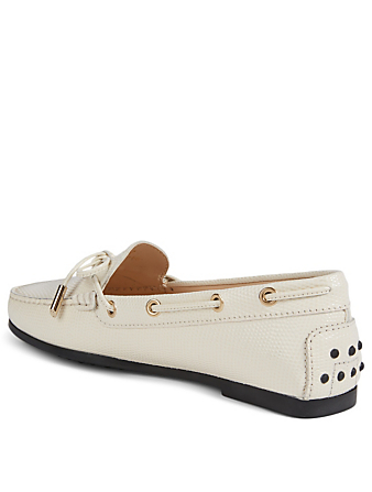 TOD'S City Gommini Leather Driving Shoes Women's White