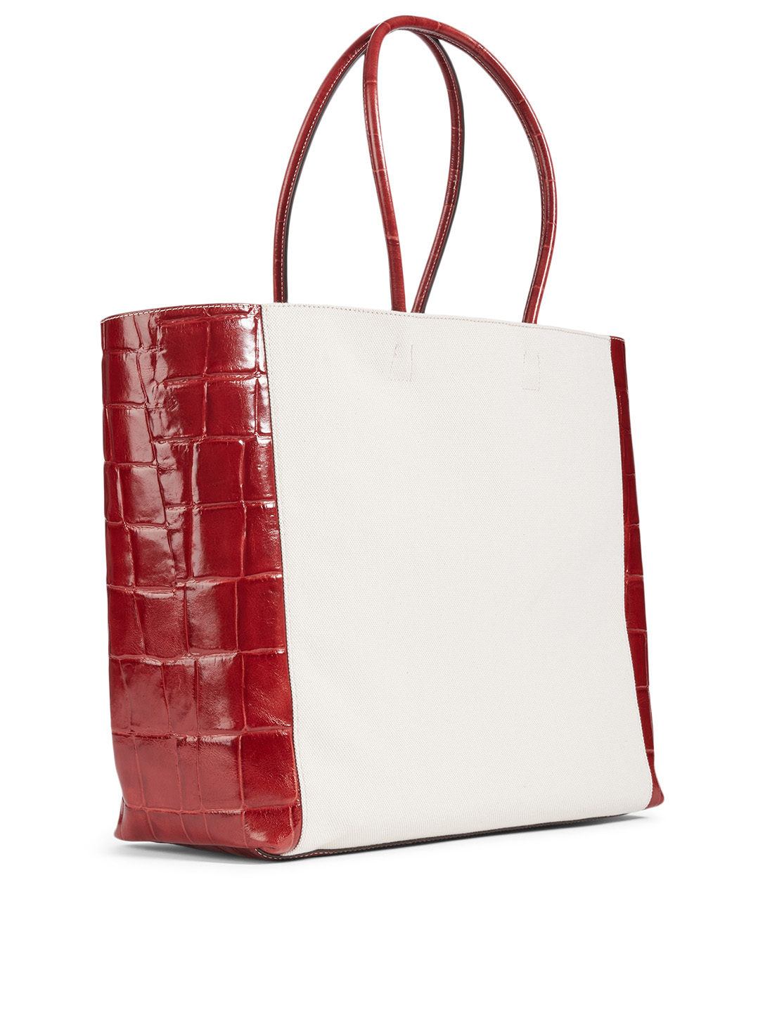 STAUD Linda Canvas And Croc-Embossed Leather Tote Bag Women's Neutral