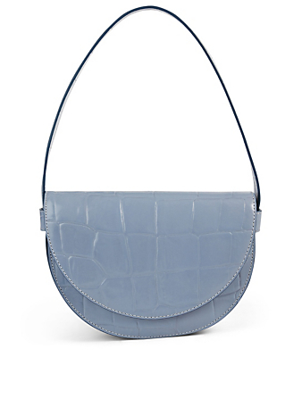 STAUD Amal Croc-Embossed Shoulder Bag Women's Blue