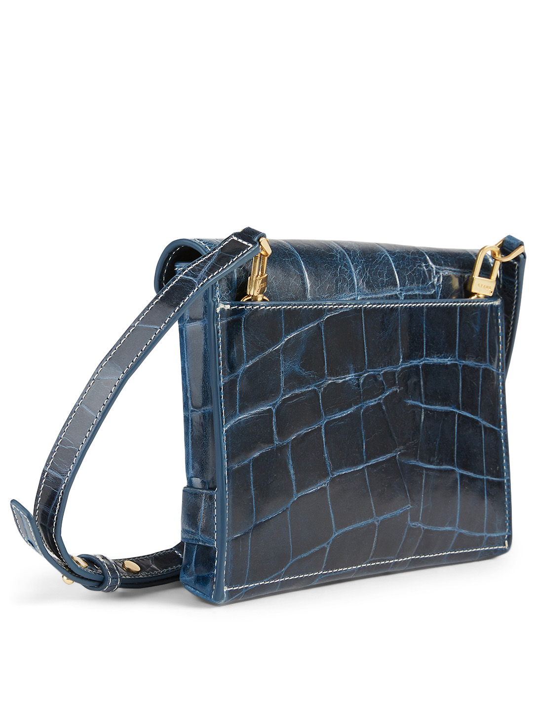 STAUD Holly Croc-Embossed Leather Convertible Bag Women's Blue