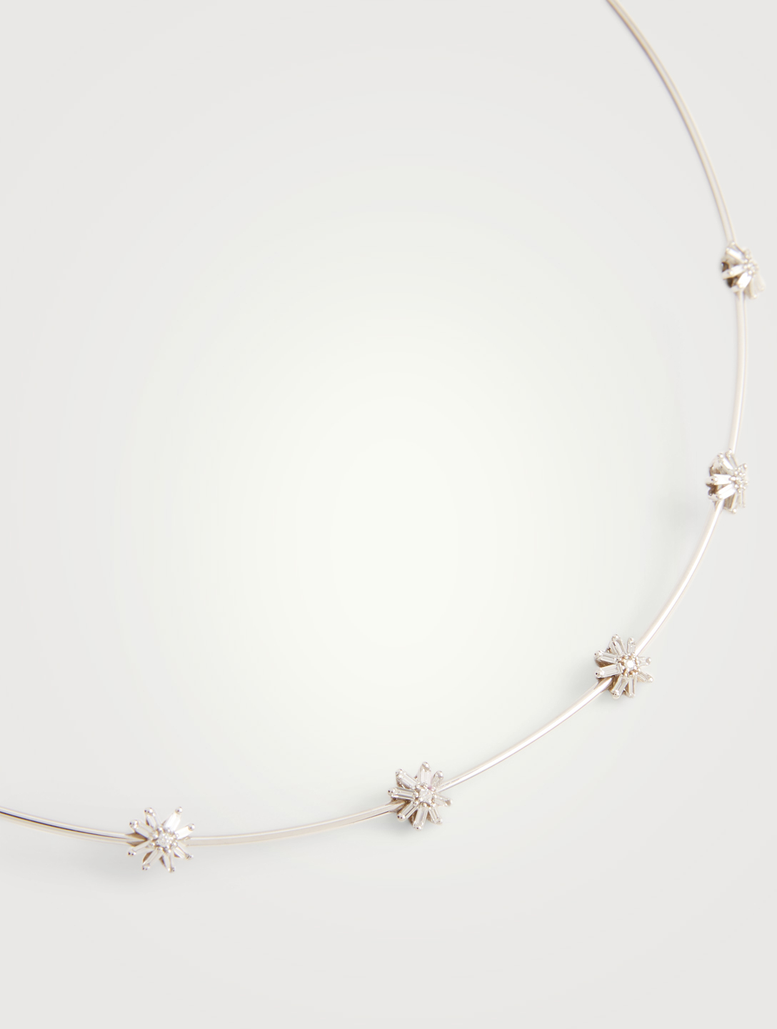 SUZANNE KALAN Fireworks 18K White Gold Cluster Collar Necklace With Diamonds Women's Metallic