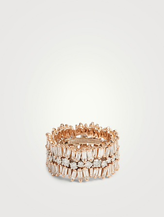 SUZANNE KALAN Fireworks 18K Rose And White Gold Eternity Ring With Diamonds Women's Metallic