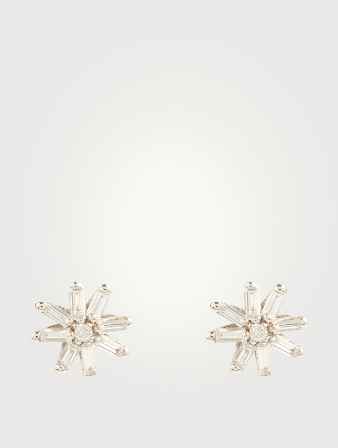 SUZANNE KALAN Small Fireworks 18K White Gold Starburst Stud Earrings With Diamonds Women's Metallic