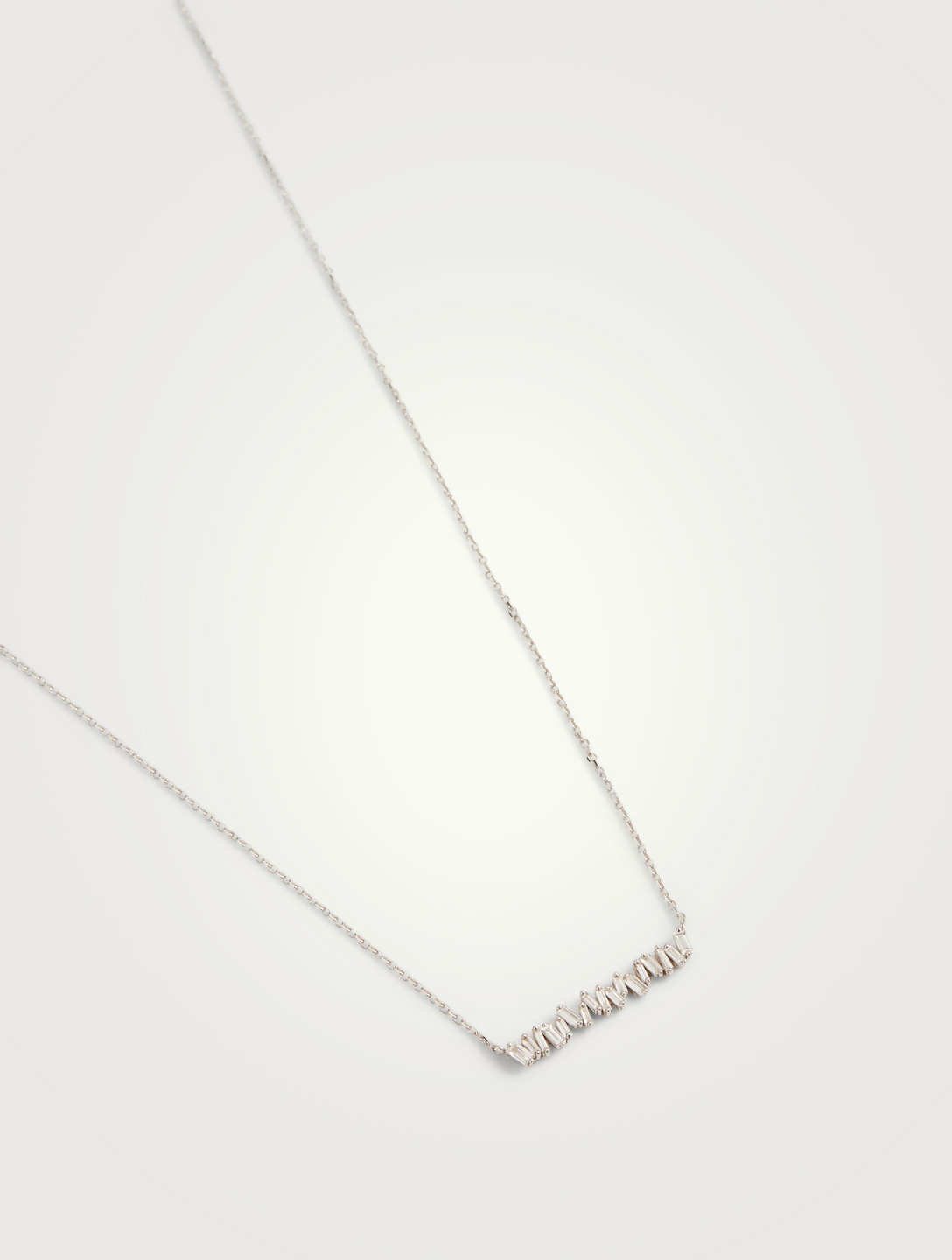 SUZANNE KALAN Small Fireworks 18K White Gold Bar Necklace With Diamonds Women's Metallic