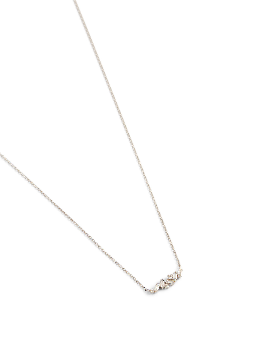 SUZANNE KALAN Large Fireworks 18K White Gold Mixed Bar Necklace With Diamonds Women's Metallic