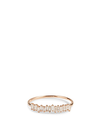 SUZANNE KALAN Fireworks 18K Rose Gold Half Band Ring With Diamonds Women's Metallic