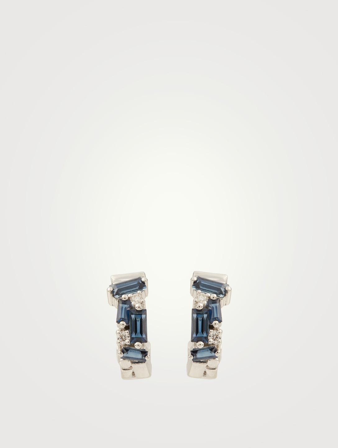 SUZANNE KALAN Fireworks 18K White Gold Hoop Earrings With Blue Sapphire And Diamonds Women's Metallic