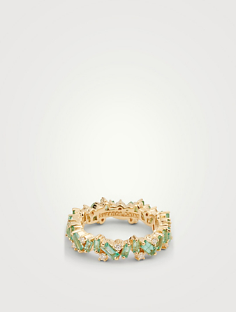 SUZANNE KALAN Rainbow Fireworks 18K Gold Ring With Emerald And Diamonds Women's Metallic