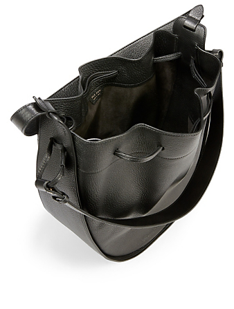 THE ROW XL Drawstring Leather Hobo Bag Women's Black