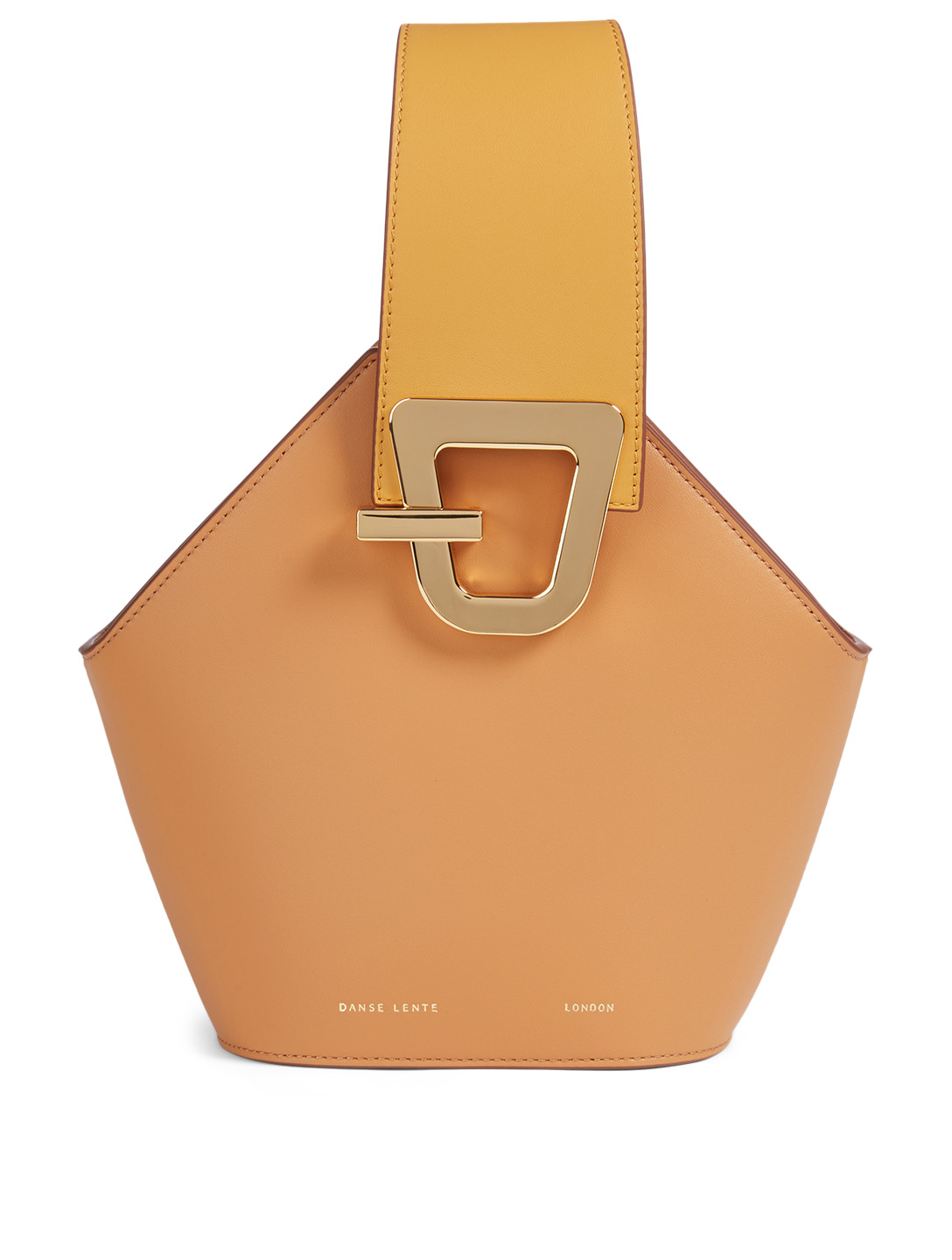 DANSE LENTE Mini Johnny Leather Hexagonal Bucket Bag Women's Orange