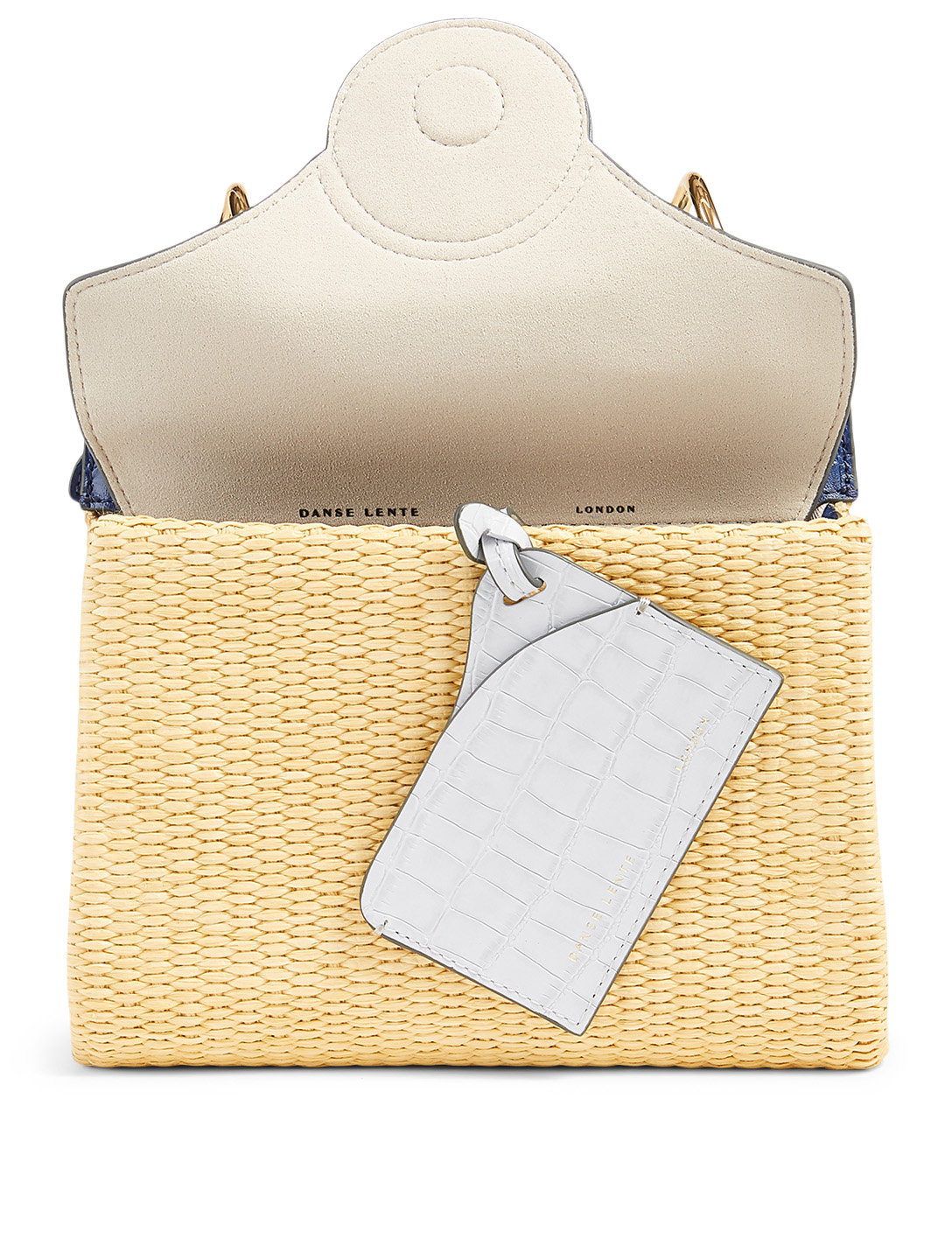 DANSE LENTE Mini Phoebe Woven Leather Folio Bag Women's Blue