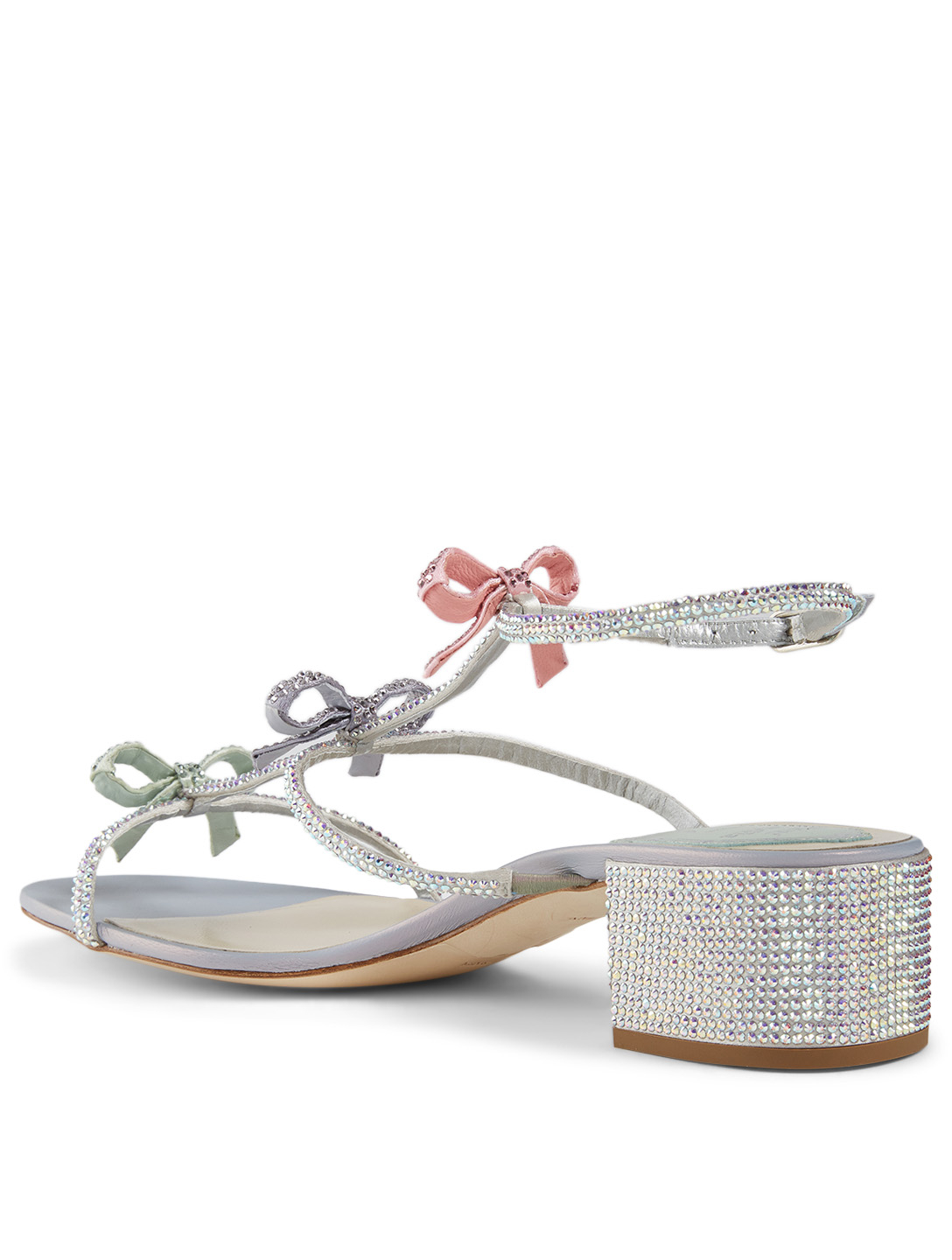 RENE CAOVILLA Caterina 40 Crystal Satin Heeled Sandals Women's Grey