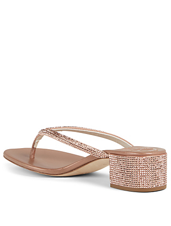 RENE CAOVILLA Alice Crystal Satin Thong Heeled Sandals Women's Pink