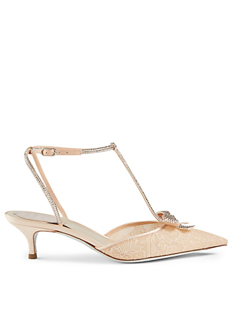 RENE CAOVILLA Caterina 50 Lace Crystal T-Strap Pumps Women's Neutral