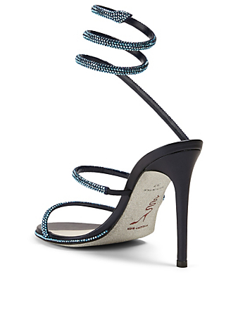 RENE CAOVILLA Cleo 105 Satin Crystal Coil Heeled Sandals Women's Blue
