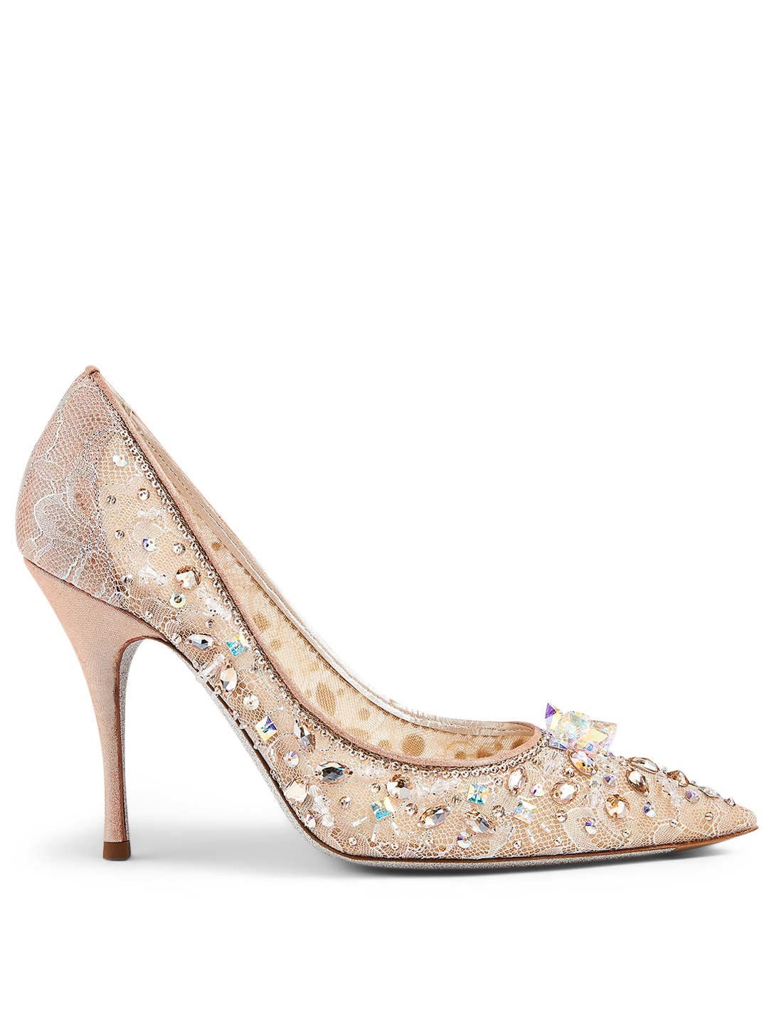 RENE CAOVILLA Cinderella Decollette 100 Crystal Lace Pumps Women's Beige