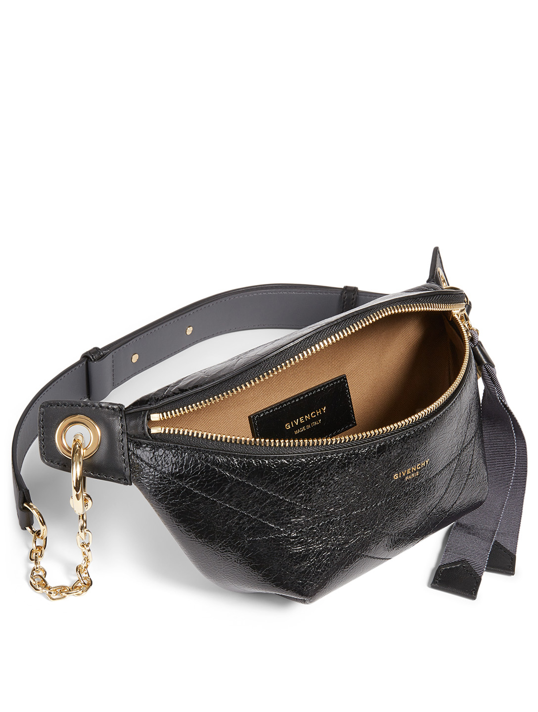 GIVENCHY ID Crackling Leather Belt Bag Women's Black