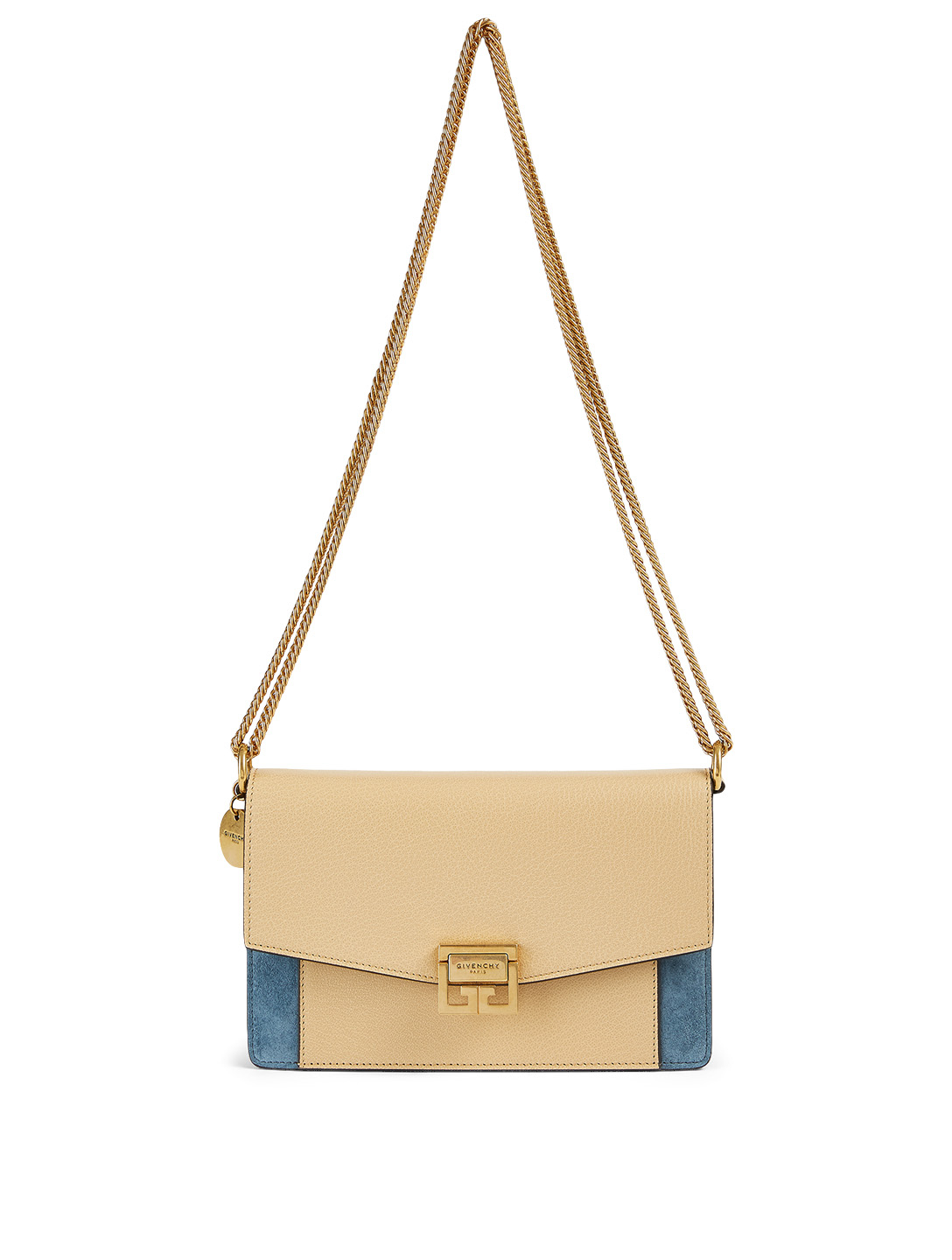 GIVENCHY Mini GV3 Leather And Suede Chain Wallet Bag Women's Beige