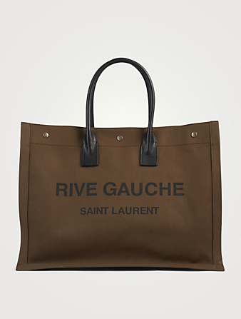 SAINT LAURENT Rive Gauche Canvas Tote Bag Men's Green