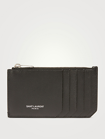 SAINT LAURENT Fragments Leather Zip Card Holder Men's Black