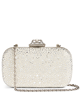 ALEXANDER MCQUEEN Spider Leather Box Clutch Bag With Crystals Women's Metallic