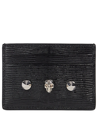 ALEXANDER MCQUEEN Skull And Stud Lizard-Embossed Leather Card Holder Women's Black
