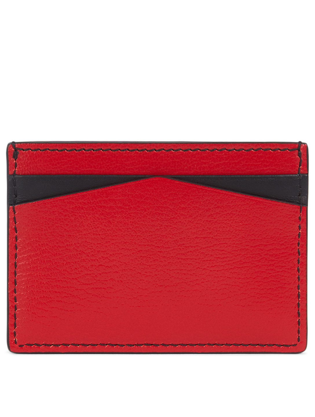 ALEXANDER MCQUEEN Skull And Stud Leather Card Holder Women's Red