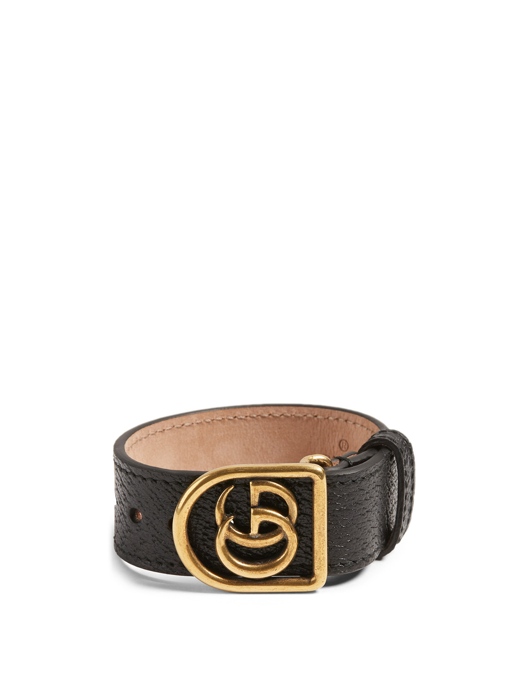 GUCCI Leather Cuff With Logo Women's Black