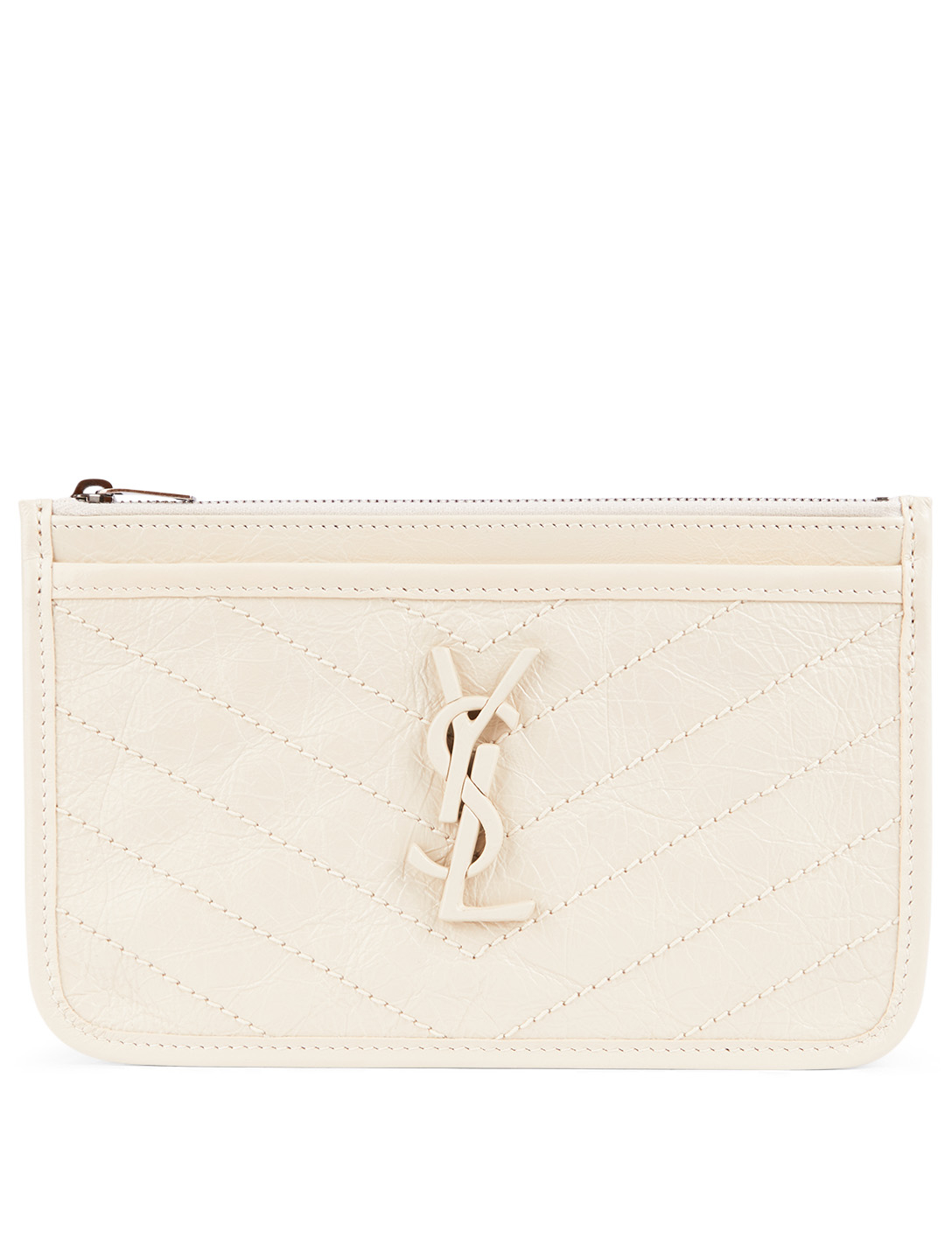 SAINT LAURENT Niki YSL Monogram Leather Pouch Women's White