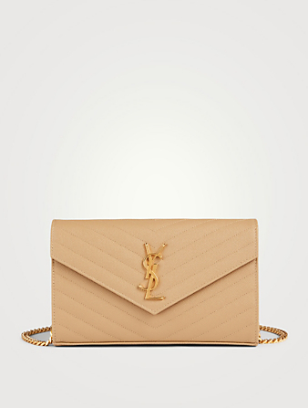 SAINT LAURENT YSL Monogram Leather Chain Wallet Envelope Bag Women's Beige