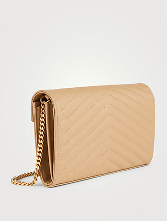 SAINT LAURENT YSL Monogram Leather Chain Wallet Bag Women's Beige