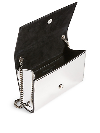 SAINT LAURENT Small Kate YSL Monogram Mirror Chain Bag Women's Metallic