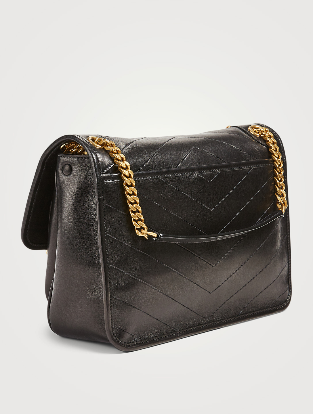 SAINT LAURENT Medium Niki YSL Monogram Leather Chain Bag Women's Black