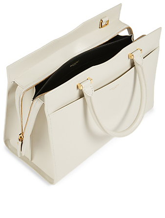 SAINT LAURENT Medium Uptown YSL Monogram Leather Bag Women's White