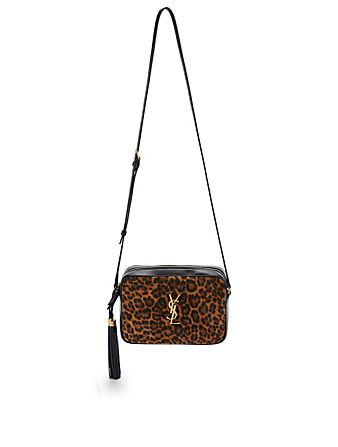 SAINT LAURENT Lou YSL Monogram Leather Camera Bag With Leopard Print Suede Women's Beige