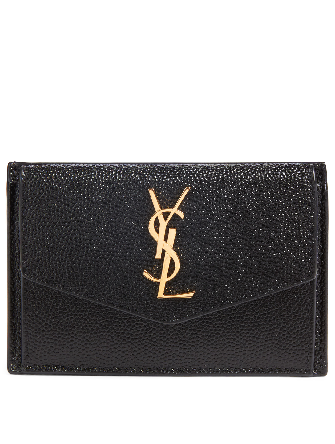 SAINT LAURENT Uptown YSL Monogram Leather Wallet Women's Black
