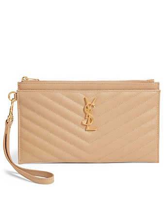 SAINT LAURENT YSL Monogram Leather Clutch Bag Women's Beige