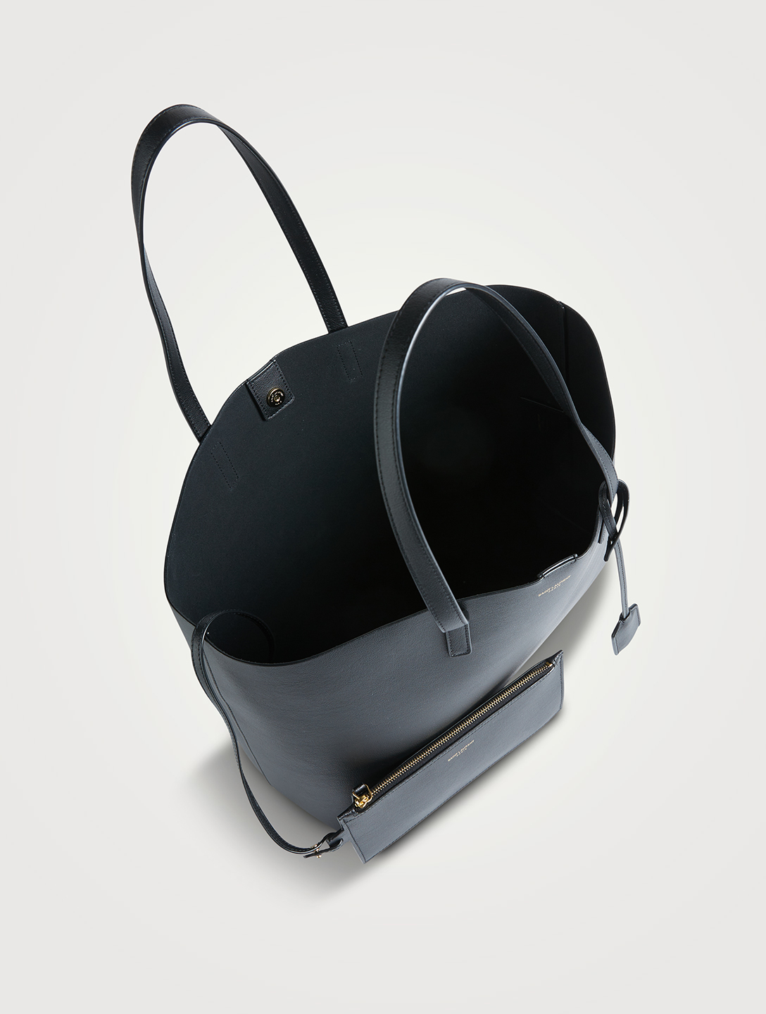 SAINT LAURENT E/W Shopping Leather Tote Bag Women's Black
