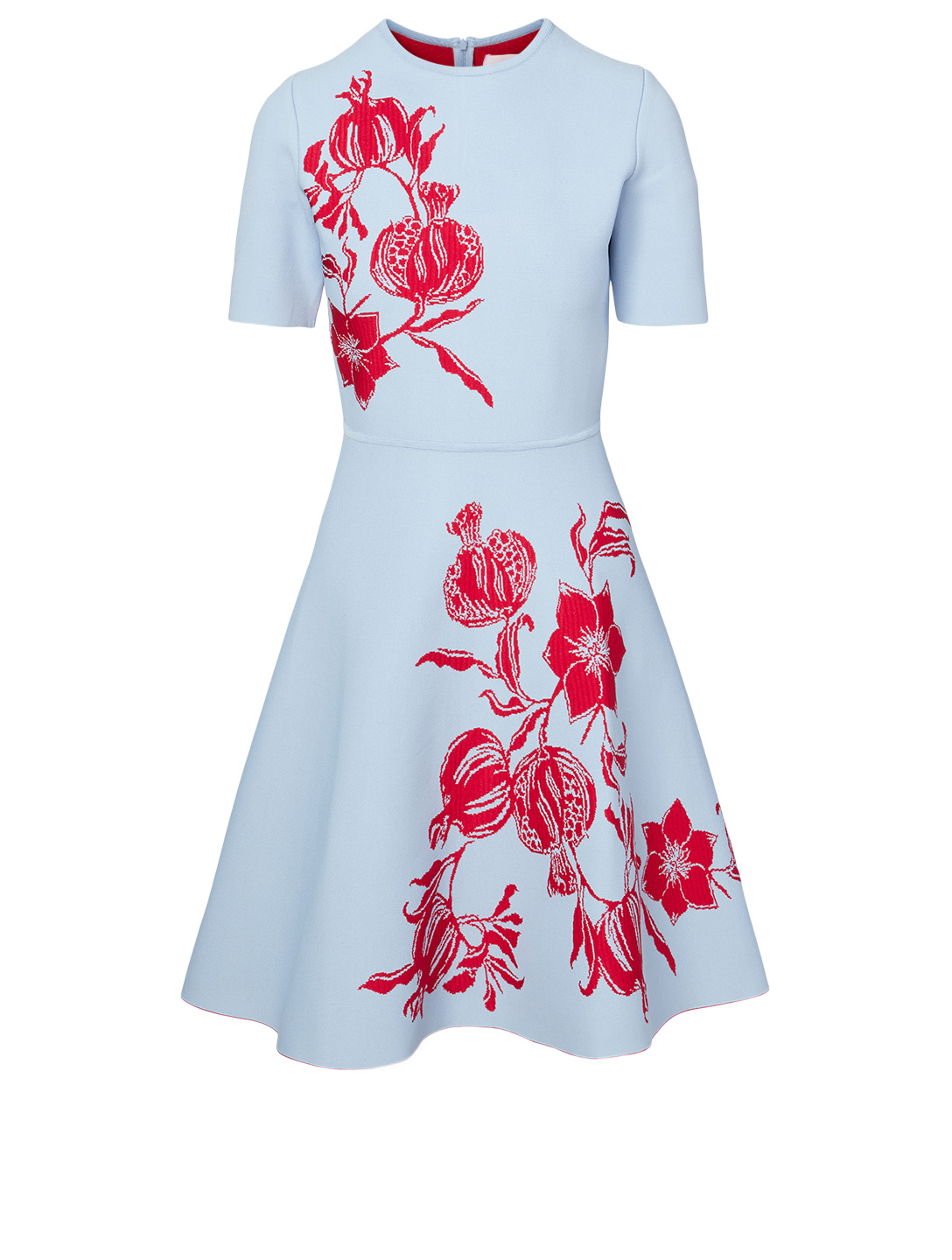 CAROLINA HERRERA Short-Sleeve Dress In Rose Print Women's Blue