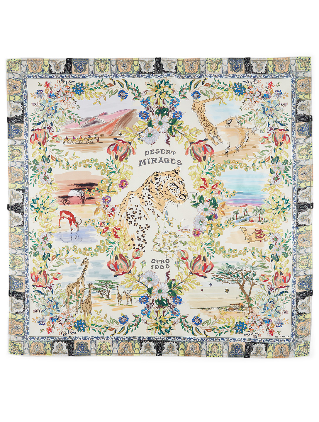 ETRO Desert Mirages Silk Scarf Women's White