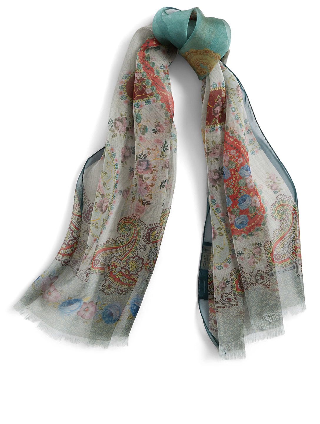 ETRO Silk Scarf In Paisley Print Women's Green