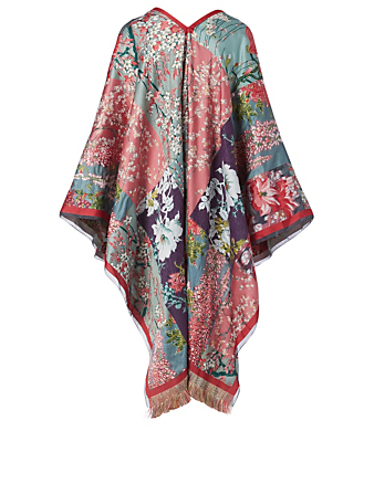 ETRO Jacquard Poncho In Floral Print With Fringe Women's Multi