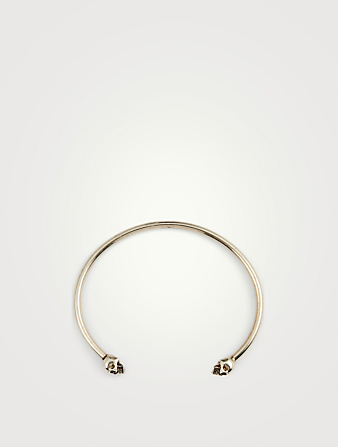 ALEXANDER MCQUEEN Thin Twin Skull Bangle Bracelet Men's Metallic