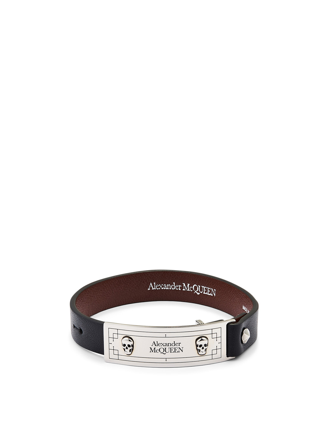 ALEXANDER MCQUEEN Leather Identity Bracelet Men's Black