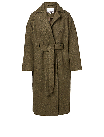 GANNI Wool-Blend Midi Coat Women's Green