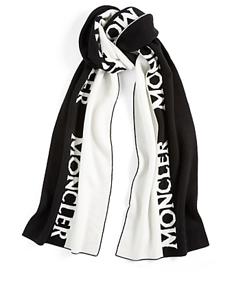 MONCLER Wool And Cashmere Scarf With Logo Women's Black