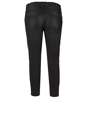 FRAME Le Garcon Crop Jeans With Raw Edge Women's Black